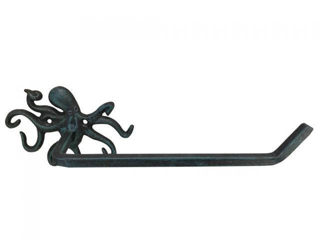 Seaworn Blue Cast Iron Octopus Toilet Paper Holder 11