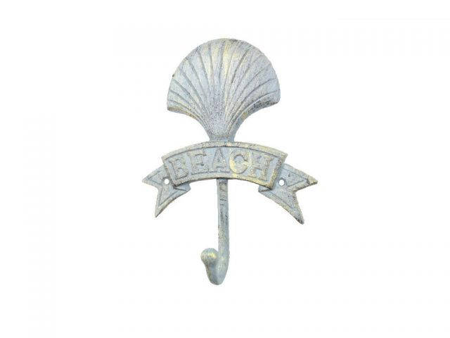 Antique Seaworn Bronze Cast Iron Seashell Beach Hook 8