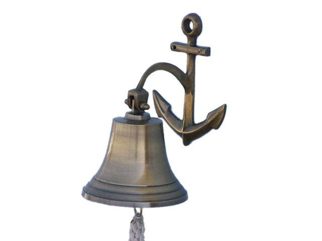 Antique Brass Hanging Anchor Bell 10