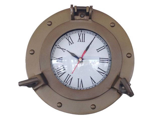 Antique Brass Decorative Ship Porthole Clock 8