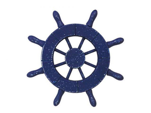 Rustic Dark Blue Decorative Ship Wheel 6