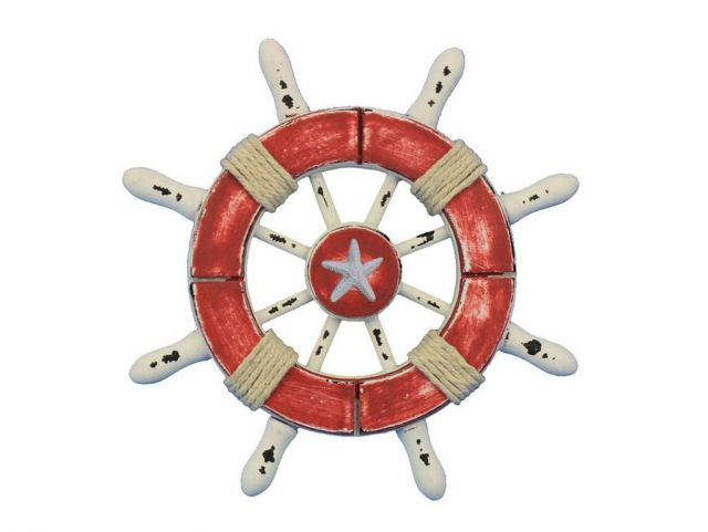Rustic Red and White Decorative Ship Wheel With Starfish 6