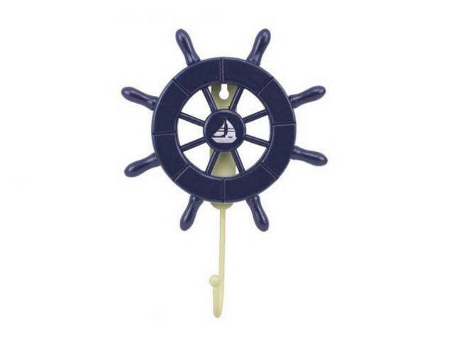 Dark Blue Decorative Ship Wheel with Sailboat and Hook 8