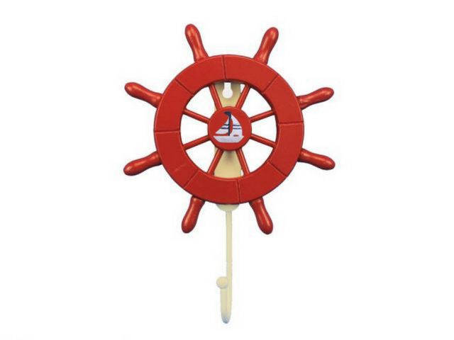 Red Decorative Ship Wheel with Sailboat and Hook 8