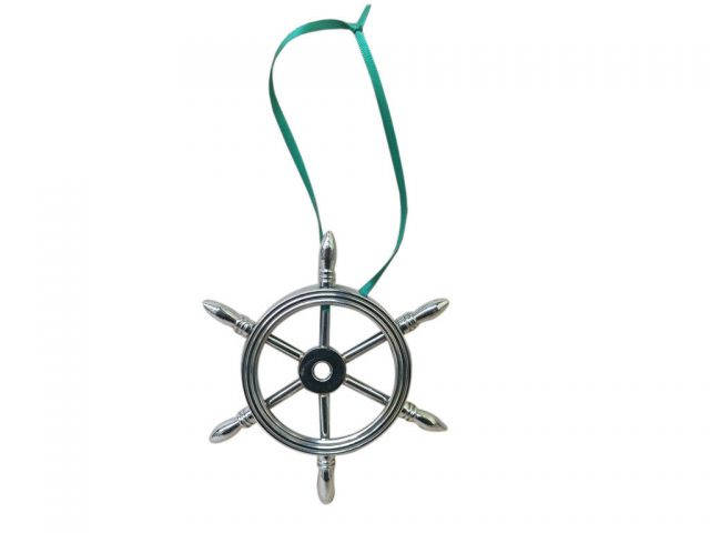 Chrome Ship Wheel Christmas Ornament 6