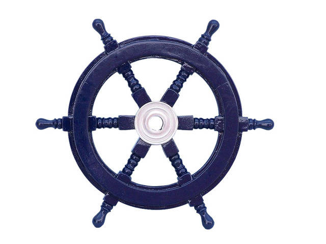 Deluxe Class Dark Blue Wood and Chrome Decorative Ship Steering Wheel 12