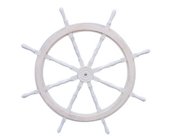 Classic Wooden Whitewashed Decorative Ship Steering Wheel 72