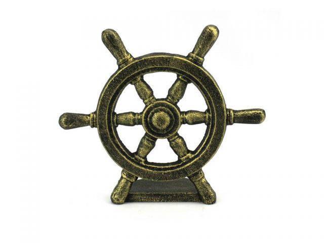 Antique Gold Cast Iron Ship Wheel Door Stopper 9