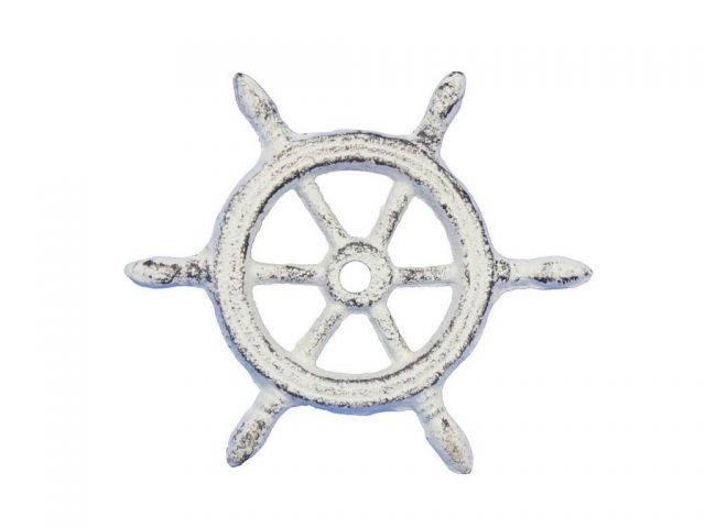 Whitewashed Cast Iron Ship Wheel Decorative Paperweight 4