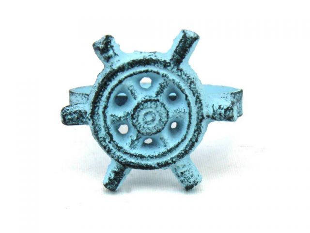 Dark Blue Whitewashed Cast Iron Ship Wheel Napkin Ring 2 - set of 2