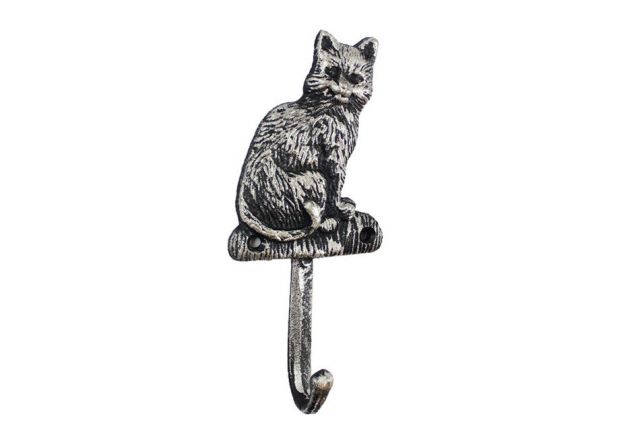 Rustic Silver Cast Iron Cat Hook 7