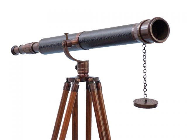 Floor Standing Antique Copper With Leather Galileo Telescope 65