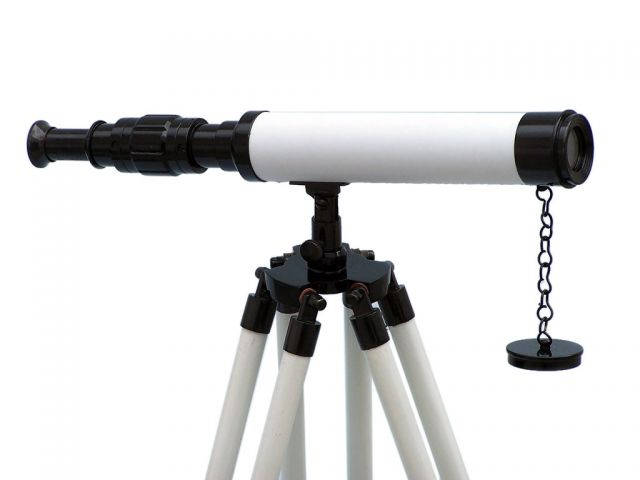 Standing Oil-Rubbed Bronze with White Leather and White Stand Harbor Master Telescope 30