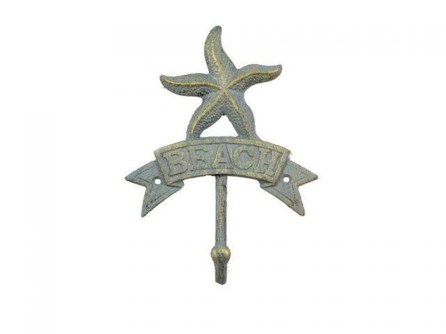 Antique Seaworn Bronze Cast Iron Starfish Beach Hook 8