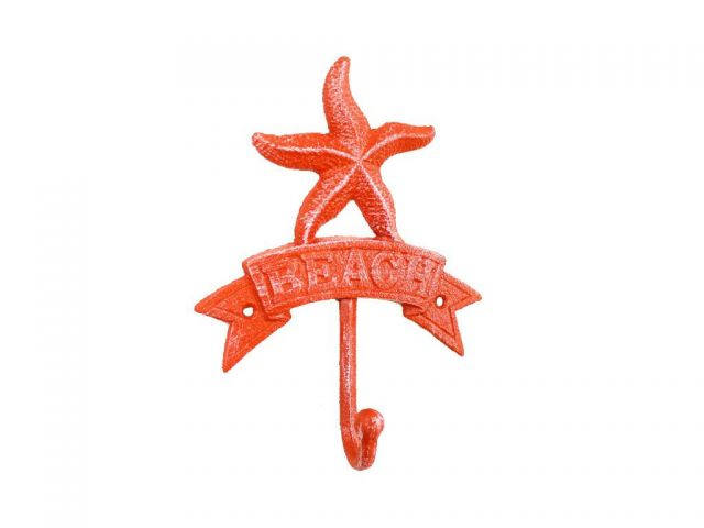 Rustic Red Whitewashed Cast Iron Starfish Beach Hook 8