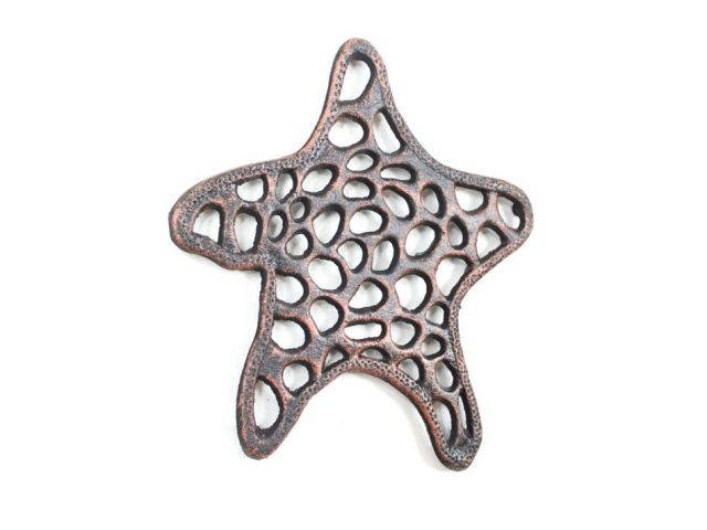 Rustic Copper Cast Iron Starfish Trivet 7