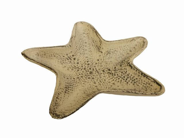 Aged White Cast Iron Starfish Decorative Bowl 8