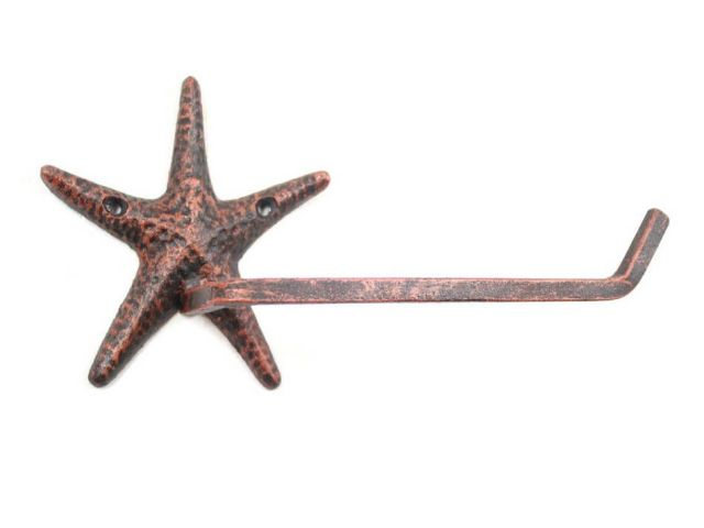 Rustic Copper Cast Iron Starfish Toilet Paper Holder 10