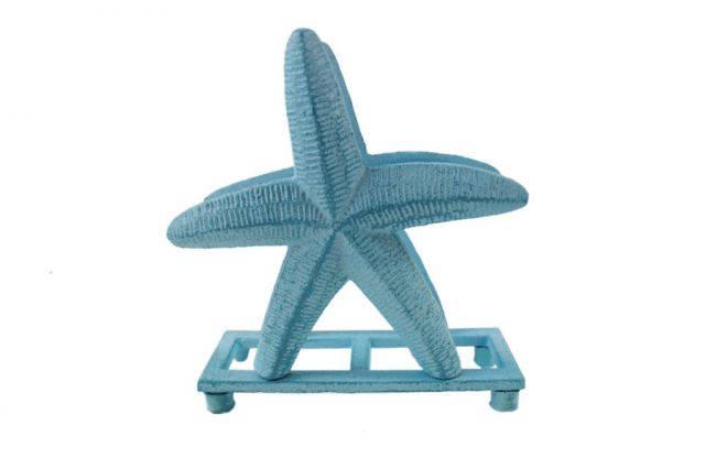 Rustic Light Blue Whitewashed Cast Iron Starfish Napkin Holder 6