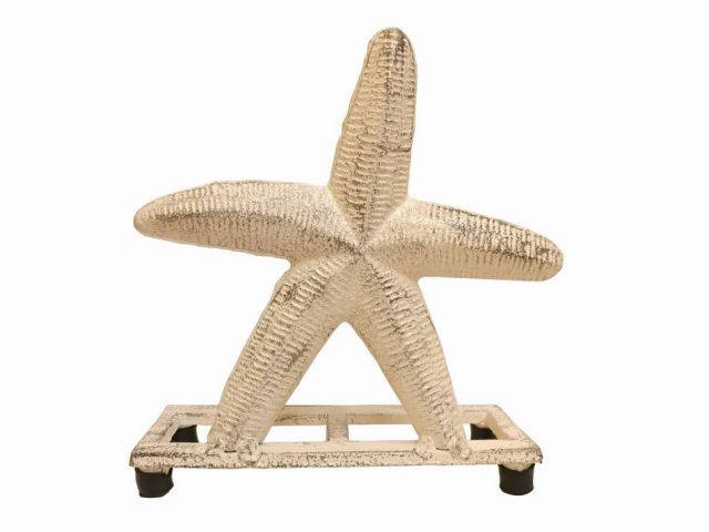 Aged White Cast Iron Starfish Napkin Holder 6
