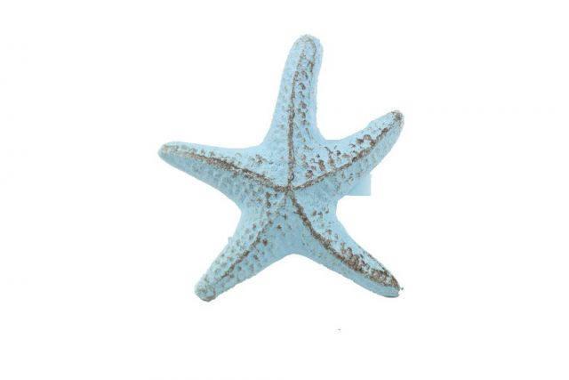 Rustic Light Blue Cast Iron Starfish Napkin Ring 3 - Set of 2