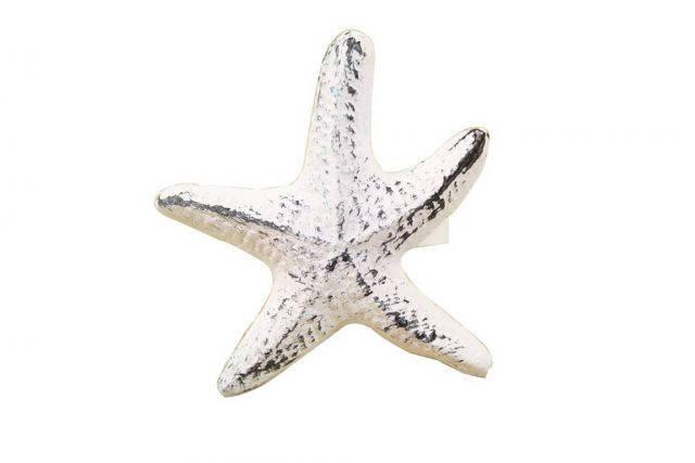 Rustic Whitewashed Cast Iron Starfish Napkin Ring 3 - set of 2