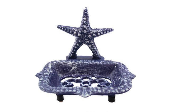 Rustic Dark Blue Cast Iron Starfish Soap Dish 6