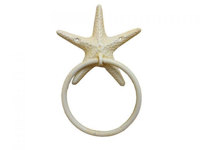 Antique White Cast Iron Starfish Towel Holder 8.5