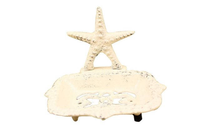 Whitewashed Cast Iron Starfish Soap Dish 6