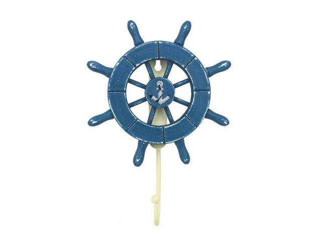 Rustic All Light Blue Decorative Ship Wheel with Anchor and Hook 8