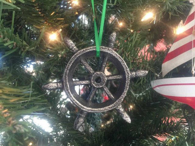 Antique Silver Cast Iron Ship Wheel Decorative Christmas Ornament 4
