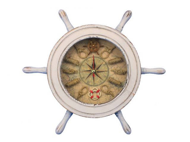 Wooden Whitewashed Ship Wheel Knot Faced Clock 12