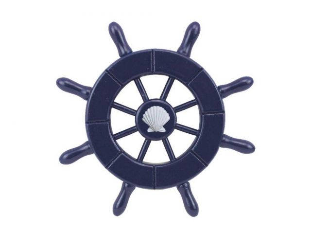 Dark Blue Decorative Ship Wheel With Seashell  6