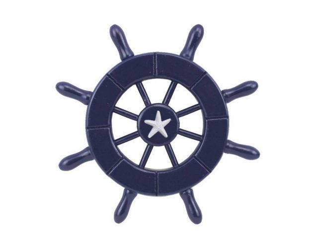 Dark Blue Decorative Ship Wheel With Starfish 6