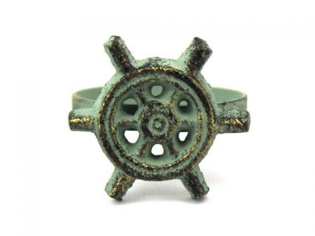Antique Bronze Cast Iron Ship Wheel Napkin Ring 2 - set of 2