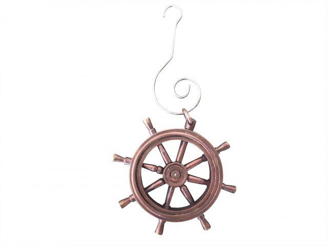 Antique Copper Ship Wheel Christmas Ornament 5