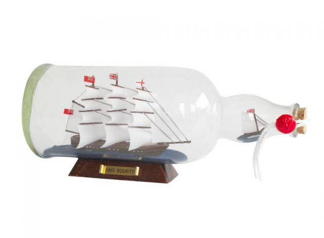 HMS Bounty Model Ship in a Glass Bottle 11