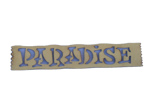 White Metal Paradise Sign 22