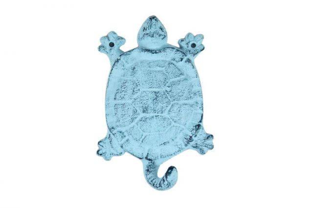 Dark Blue Whitewashed Cast Iron Turtle Key Hook 6