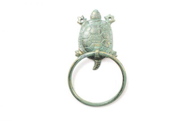 Antique Seaworn Bronze Cast Iron Turtle Towel Holder 8