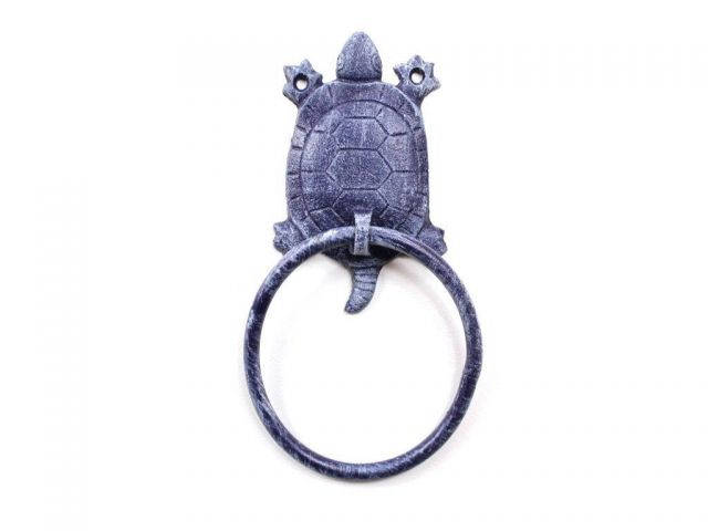 Rustic Dark Blue Cast Iron Turtle Towel Holder 8