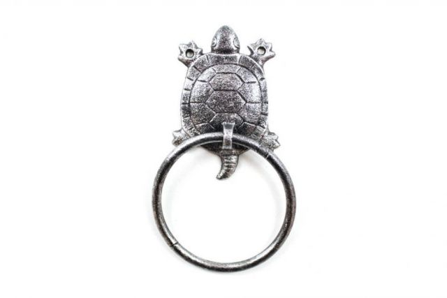 Rustic Silver Cast Iron Turtle Towel Holder 8