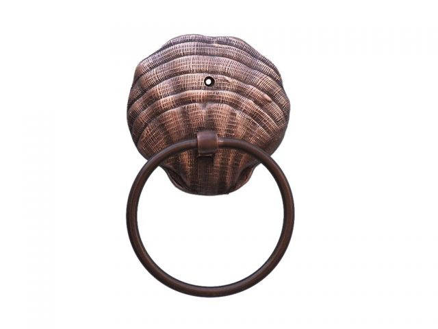 Antique Copper Seashell Towel Holder 9