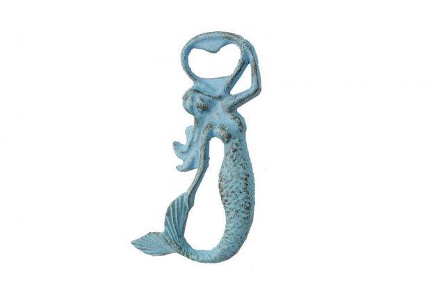 Rustic Light Blue Cast Iron Arching Mermaid Bottle Opener 6