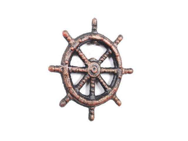 Rustic Copper Cast Iron Ship Wheel Bottle Opener 3.75