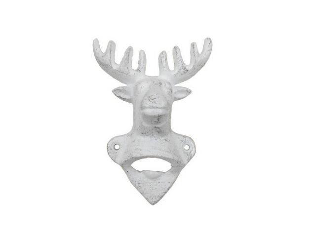 Whitewashed Cast Iron Deer Bottle Opener 6