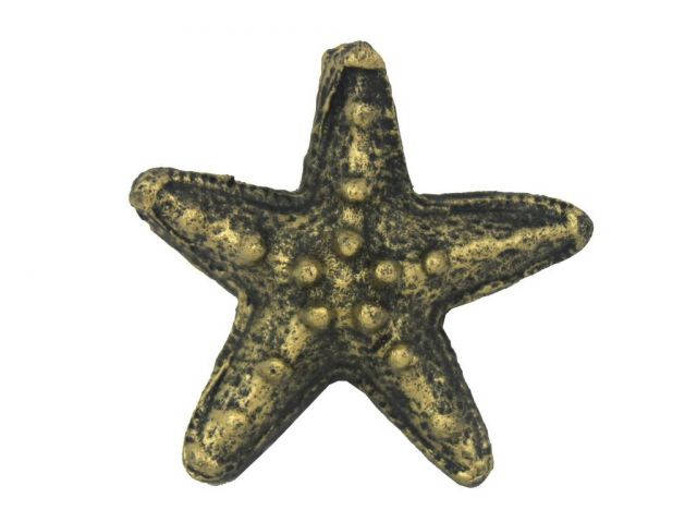 Antique Gold Cast Iron Starfish Paperweight 3