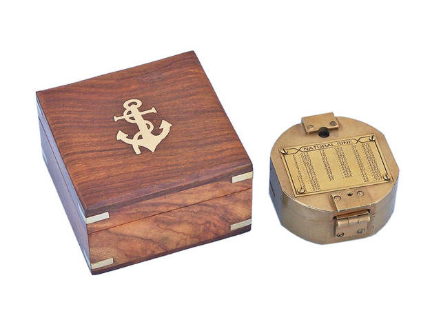Antique Brass Brunton Pocket Transit Compass with Rosewood Box 4