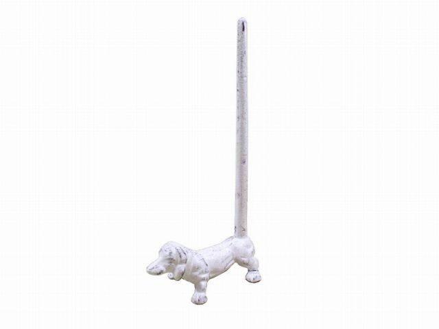 Whitewashed Cast Iron Dog Paper Towel Holder 12