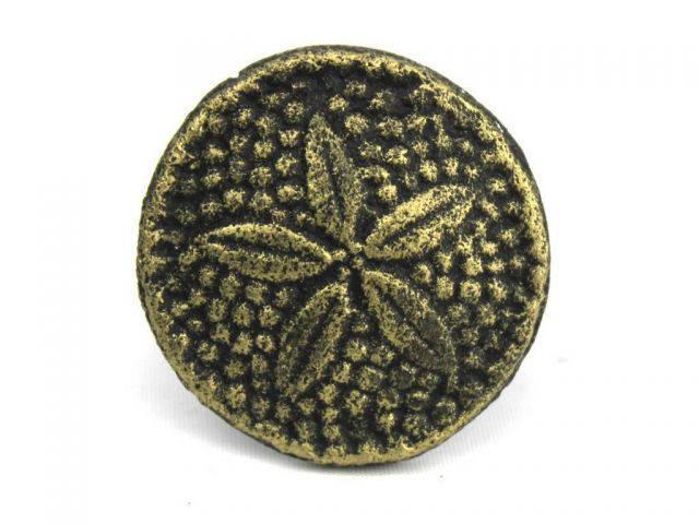 Antique Gold Cast Iron Sand Dollar Napkin Ring 2 - set of 2